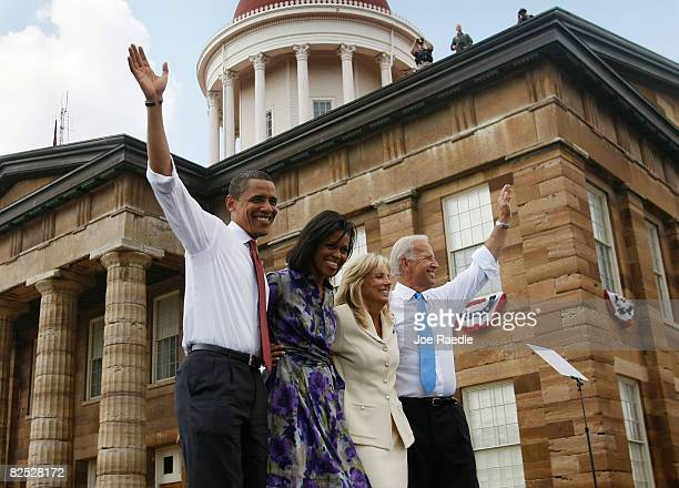 Presumptive Democratic Presidential candidate U.S. Sen. Barack Obama with his wife Michelle and his Vice Presidential pick Sen. Joe Biden and his...