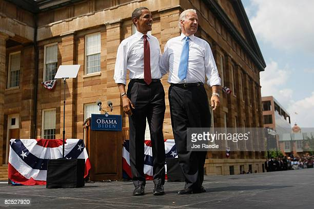Presumptive Democratic Presidential candidate US Sen Barack Obama takes to the stage with his Vice Presidential pick Sen Joe Biden at the Old State...