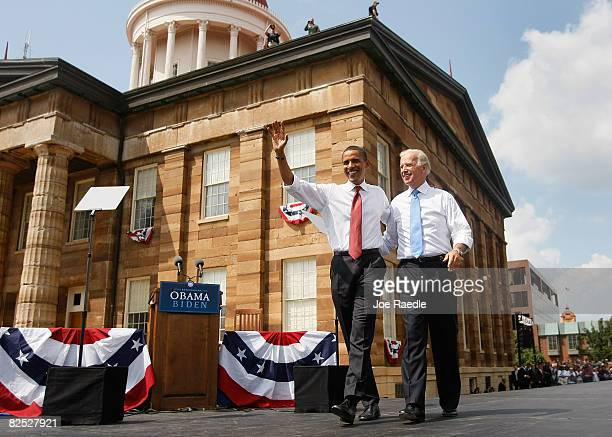 Presumptive Democratic Presidential candidate U.S. Sen. Barack Obama takes to the stage with his Vice Presidential pick Sen. Joe Biden at the Old...