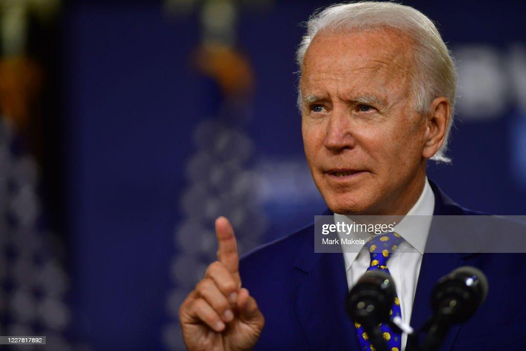 Presidential Candidate Joe Biden Makes Economic Address In Wilmington, Delaware : News Photo
