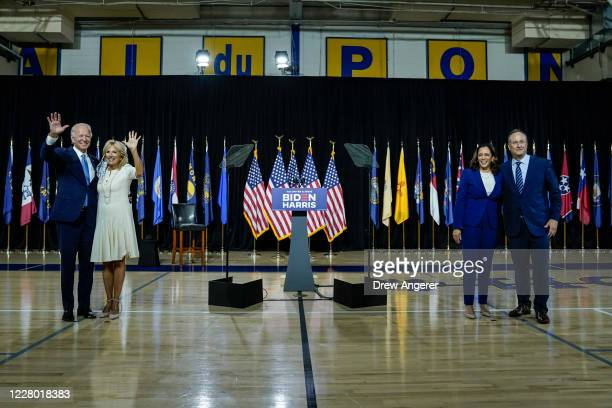 Presumptive Democratic presidential nominee former Vice President Joe Biden, with his wife Dr. Jill Biden, and his running mate Sen. Kamala Harris ,...