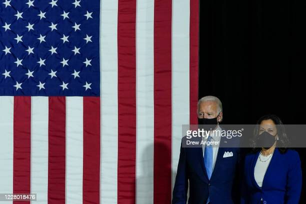 Presumptive Democratic presidential nominee former Vice President Joe Biden and his running mate Sen. Kamala Harris deliver remarks at the Alexis...