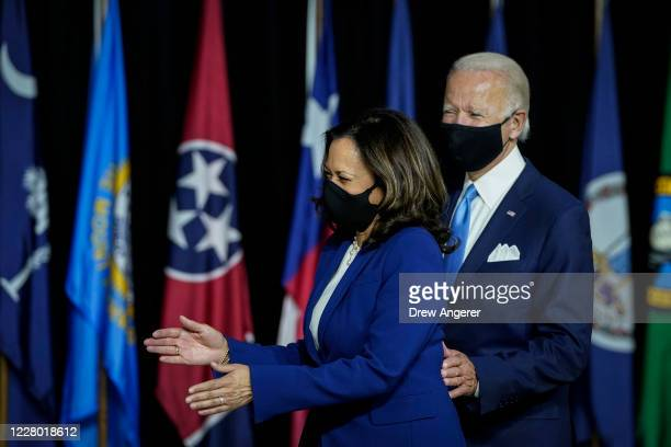 Presumptive Democratic presidential nominee former Vice President Joe Biden and his running mate Sen Kamala Harris arrive to deliver remarks at the...