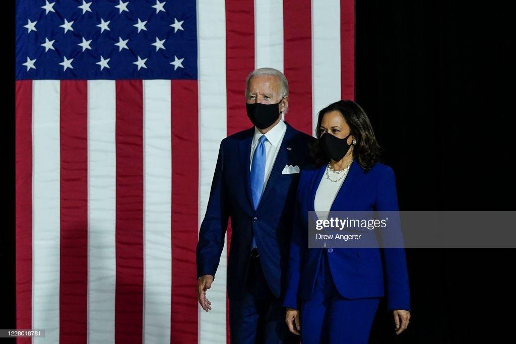 Joe Biden and Running Mate Kamala Harris Deliver Remarks In Delaware : News Photo