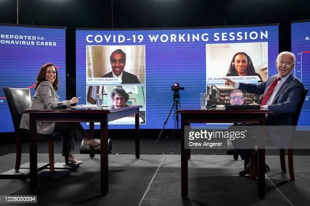 Presumptive Democratic presidential nominee former Vice President Joe Biden and his running mate Sen. Kamala Harris attend a coronavirus briefing at...