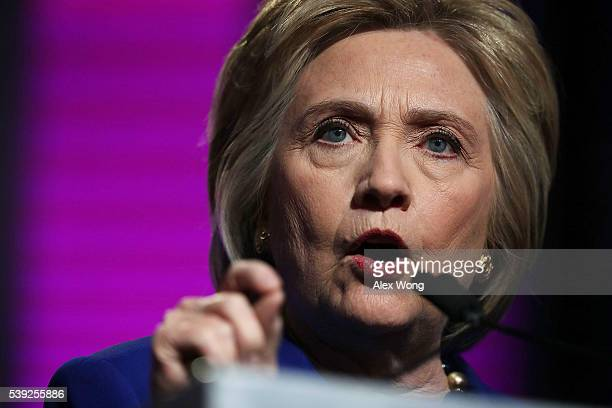 Presumptive Democratic presidential nominee Hillary Clinton speaks during a Planned Parenthood Action Fund event June 10 2016 in Washington DC...