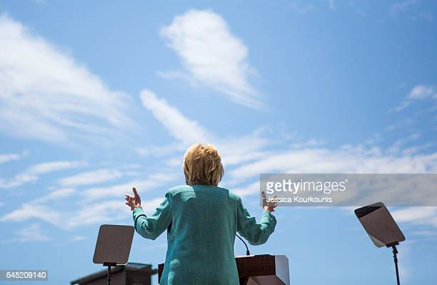 Presumptive Democratic presidential nominee Hillary Clinton speaks at a rally on the boardwalk on July 6, 2016 in Atlantic City, New Jersey. Clinton...