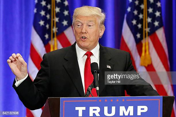 Presumptive Republican nominee for President of the United States Donald Trump gives a speech regarding Hillary Clinton at Trump SoHo on June 22 2016...