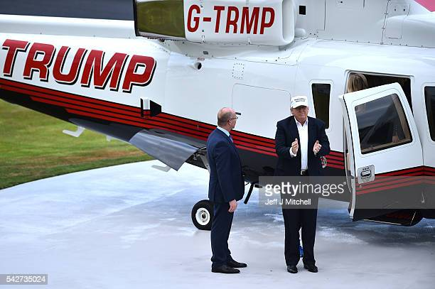 Presumptive Republican nominee for US president Donald Trump arrives by helicopter to his Trump Turnberry Resort on June 24 2016 in Ayr Scotland Mr...