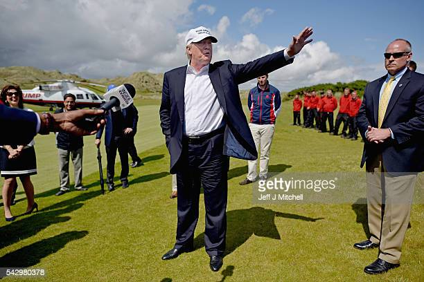 Presumptive Republican nominee for US president Donald Trump arrives at Trump International Golf Links on June 25 2016 in Aberdeen Scotland The US...