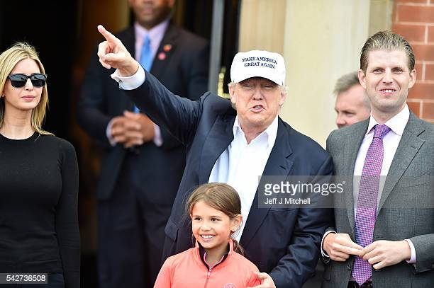 Presumptive Republican nominee for US president Donald Trump surround by his family Eric Trump Kai Trump and Ivanka Trump arrive to his Trump...