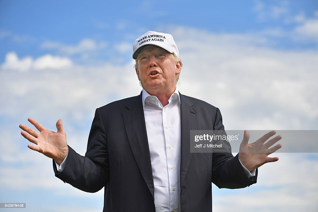 Donald Trump Visits His Golf Course in Aberdeen : News Photo