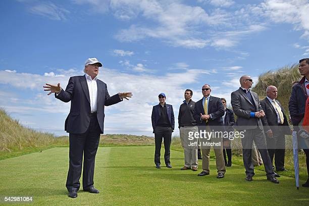 Presumptive Republican nominee for US president Donald Trump visits Trump International Golf Links on June 25 2016 in Aberdeen Scotland The US...