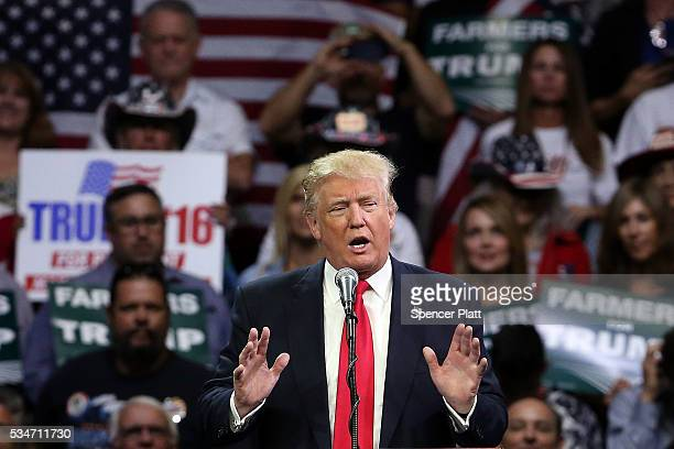 Presumptive Republican presidential candidate Donald Trump speaks at a rally in Fresno on May 27 2016 in Fresno California Trump is on a Western...