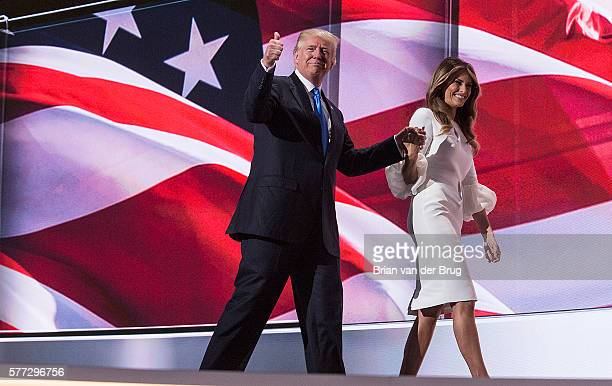 Presumptive Republican presidential candidate Donald Trump with his wife Melania Trump at the 2016 Republican National Convention in Cleveland OH on...