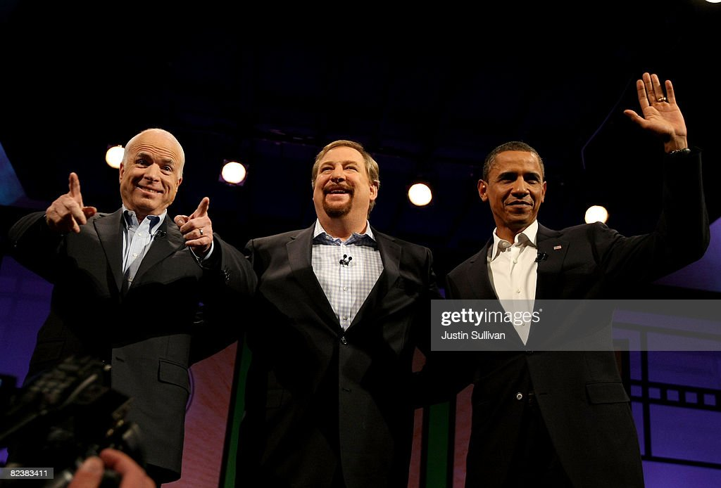 McCain And Obama Attend Campaign Forum At California Mega-Church : News Photo