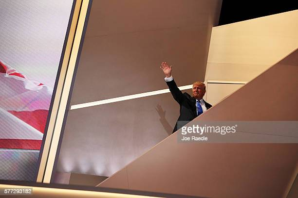 Presumptive Republican presidential nominee Donald Trump exists the stage after his wife Melania delivered a speech on the first day of the...