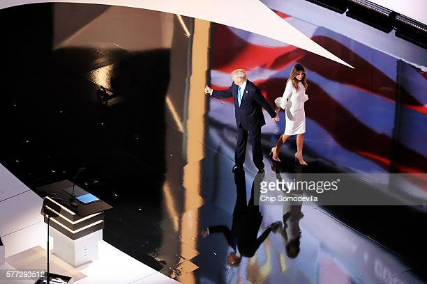 Presumptive Republican presidential nominee Donald Trump gestures to the crowd after his wife Melania delivered a speech on the first day of the...