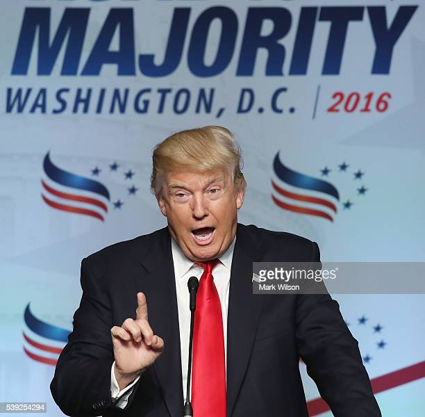 Presumptive Republican Presidential nominee Donald Trump speaks during the Faith and Freedom Forum Coalition's 'Road to Majority' conference on June...