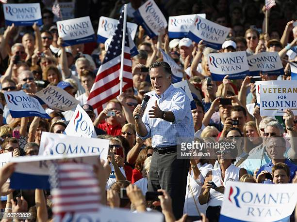Presumptive Republican presidential nominee former Massachusetts Governor Mitt Romney speaks to supporters on August 25 2012 in Columbus Grove Ohio...