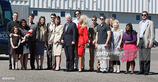 Presumptive Republican presidential nominee John McCain and his vice presidential pick Alaska Gov Sarah Palin pose for a photograph with their...