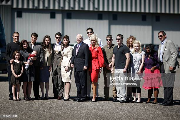 Presumptive Republican presidential nominee John McCain and his vice presidential pick Alaska Gov Sarah Palin with their families Track Palin Piper...