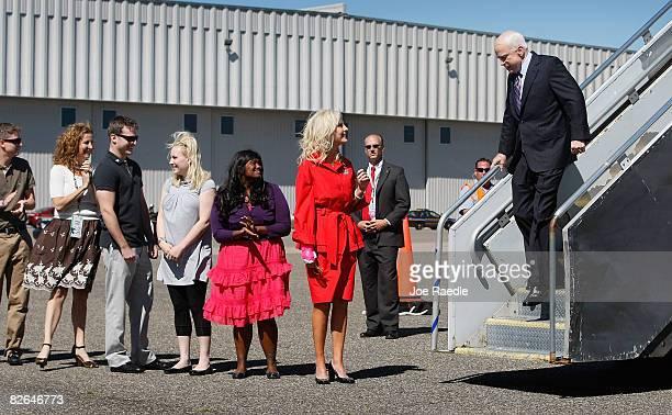 Presumptive Republican presidential nominee John McCain is greeted by his wife Cindy along with his children Bridget McCain Meghan McCain Jack McCain...