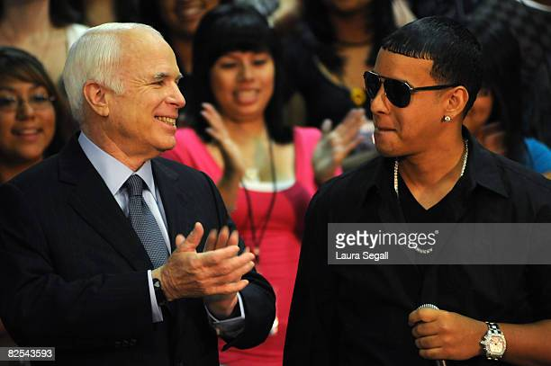 Presumptive Republican presidential nominee Sen John McCain is endorsed by Latin recording artist Daddy Yankee during a news conference at Central...