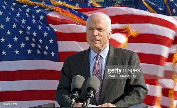 Presumptive Republican Presidential nominee US Senator John McCain of Arizona delivers remarks at the US Navy and Marine Corps Memorial Stadium as US...
