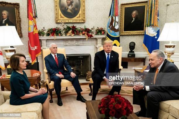 presumptive Speaker House Minority Leader Nancy Pelosi US Vice President Mike Pence US President Donald Trump and Senate Minority Leader Charles E...