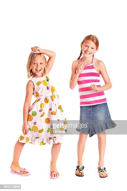 Preteen Adolescent Girls in Happy Playful Dancing Poses on White
