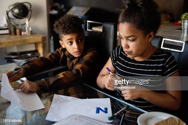 """preteen brother and sister homeschooling on the dining room table. - """"martine doucet"""" or martinedoucet stock pictures, royalty-free photos & images"""
