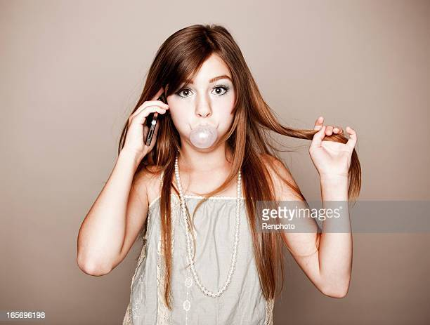 Pre-Teen Chewing Gum, On The Phone, Twirling Hair