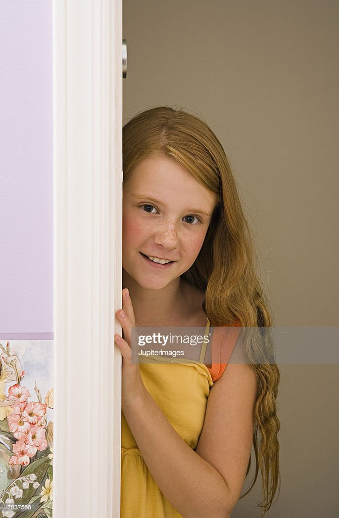 Preteen Girl Looking Up At Camera Stock Image - Image of