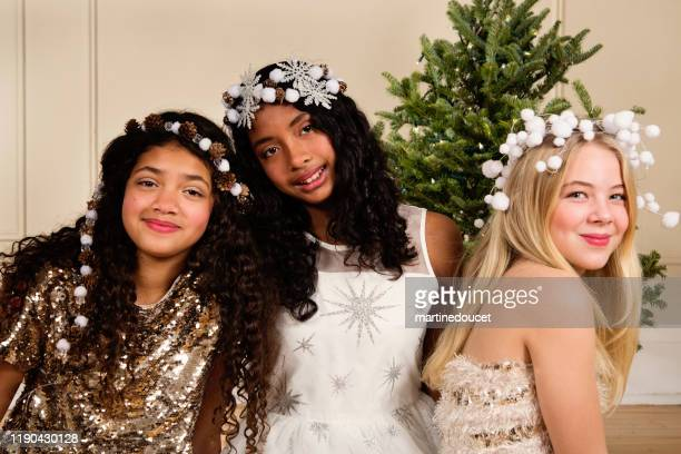 "preteen girls diversity holidays portraits. - ""martine doucet"" or martinedoucet stock pictures, royalty-free photos & images"
