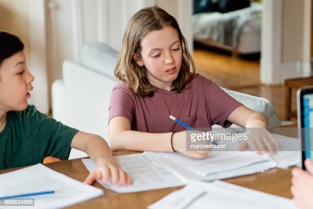 Preteen sibling doing homework at home.