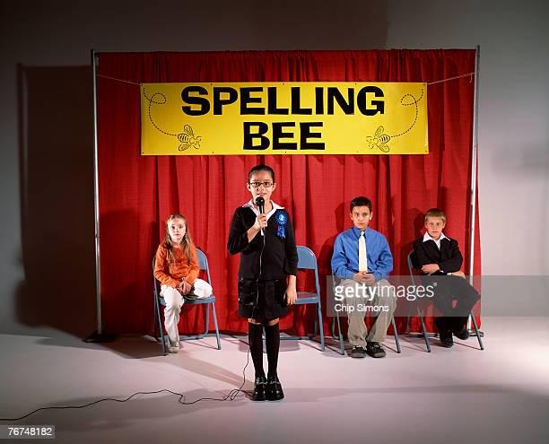 Pre-teens at spelling bee