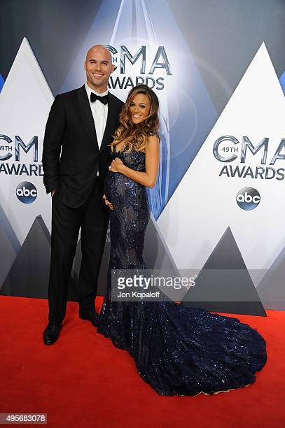 Pre-telecast host and Musician Jana Kramer and husband, former NFL player, Michael Caussin attend the 49th annual CMA Awards at the Bridgestone Arena...