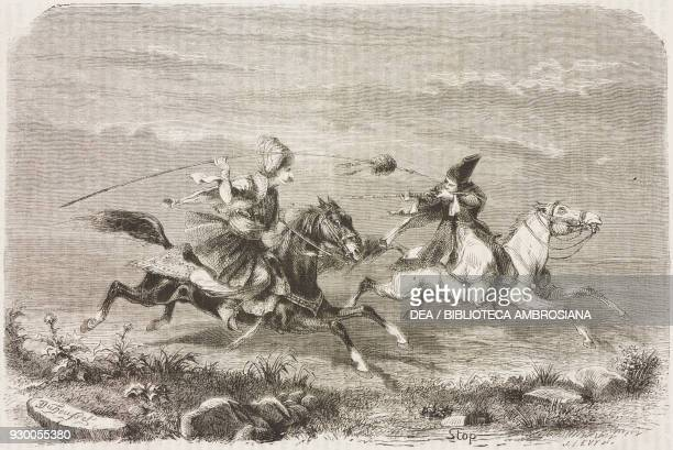 Pretend horse duel during the hunt, Iran, drawing by Duhousset, from Hunting in Persia by Emile Duhousset , from Il Giro del mondo , Journal of...