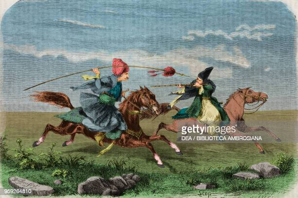 Pretend horse duel during the hunt Iran drawing by Duhousset from Hunting in Persia by Emile Duhousset from Il Giro del mondo Journal of geography...