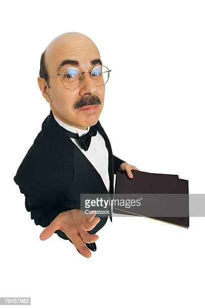 Pretentious waiter at restaurant