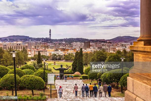 pretoria from the union buildings under stormy cloudscape - pretoria stock pictures, royalty-free photos & images
