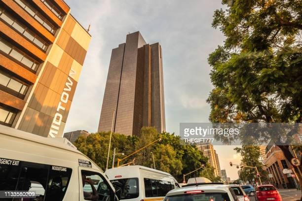pretoria urban city road with the south african reserve skyscraper - central bank stock pictures, royalty-free photos & images