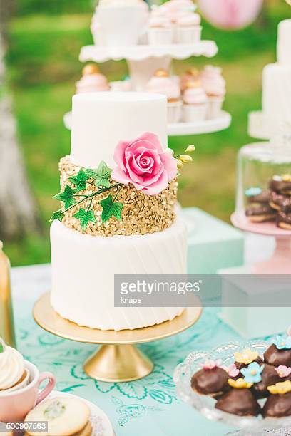 Prettiest wedding cake on dessert table