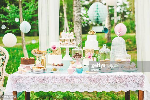 prettiest wedding dessert table - tea party stock pictures, royalty-free photos & images
