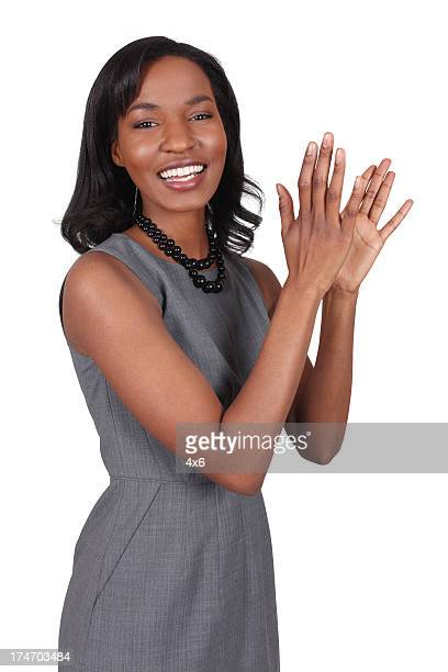 Pretty African American Business Woman Clapping