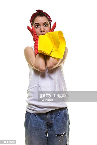 Pretty and young woman cleaning