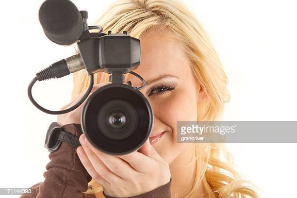 かわいい金髪、ビデオカメラ