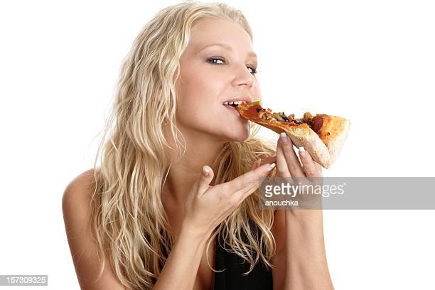 Schönen blonden Frau Essen pizza