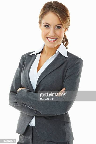 Pretty business woman smiling confidently on white